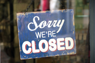 """Sorry were closed"" sign"
